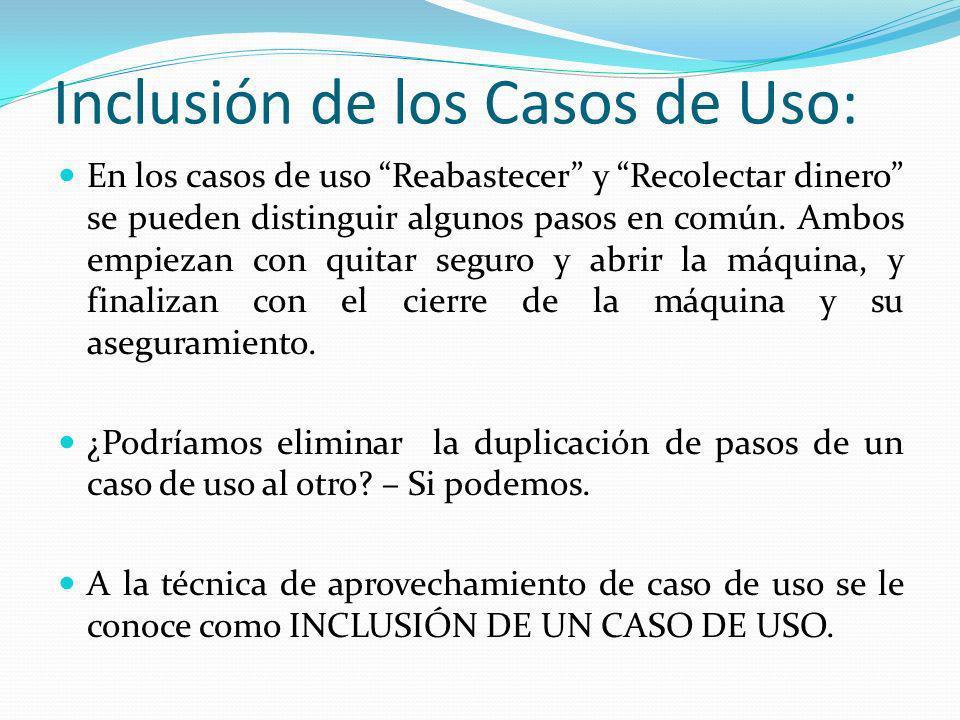 Inclusión de los Casos de Uso: En los casos de uso Reabastecer y Recolectar dinero se pueden distinguir algunos pasos en común. Ambos empiezan con qui