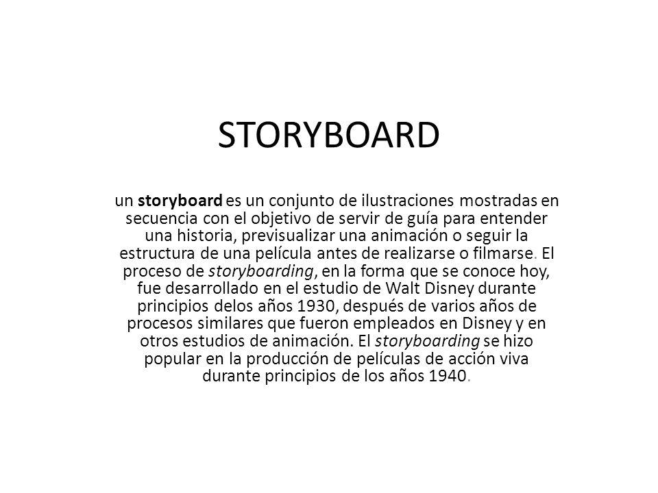 STORYBOARD un storyboard es un conjunto de ilustraciones mostradas en secuencia con el objetivo de servir de guía para entender una historia, previsua