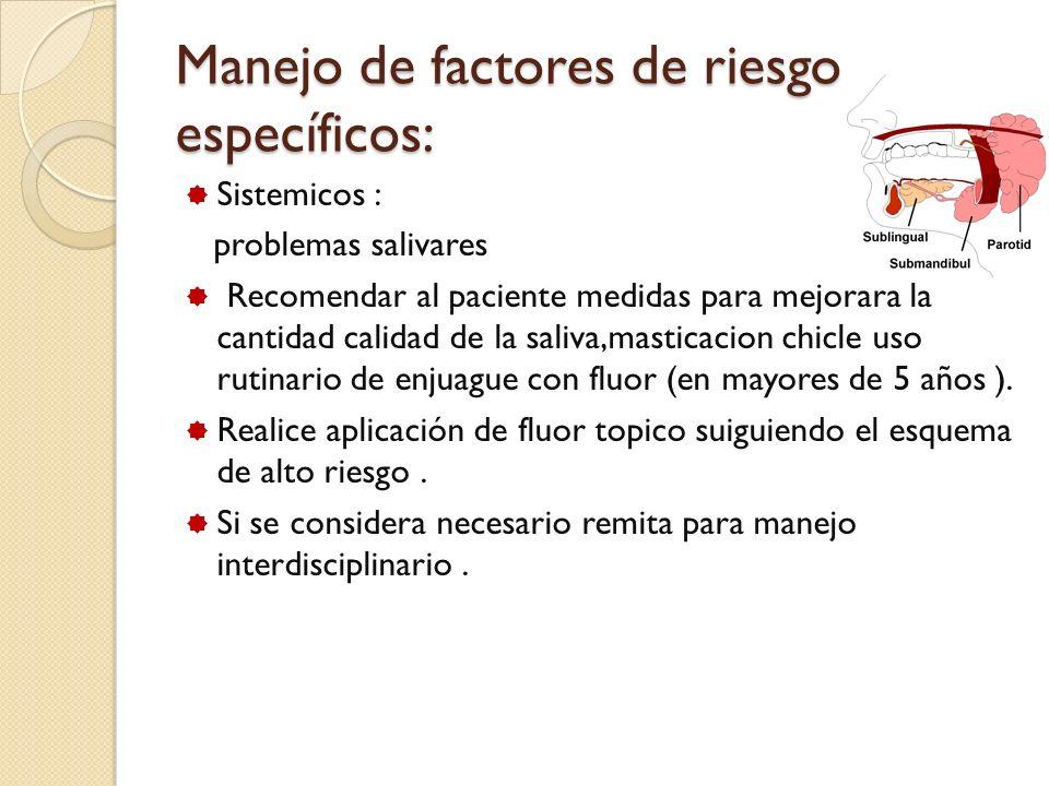 Manejo de factores de riesgo específicos: Sistemicos : problemas salivares Recomendar al paciente medidas para mejorara la cantidad calidad de la sali