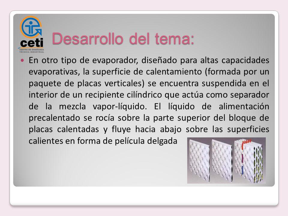 Desarrollo del tema: En otro tipo de evaporador, diseñado para altas capacidades evaporativas, la superficie de calentamiento (formada por un paquete