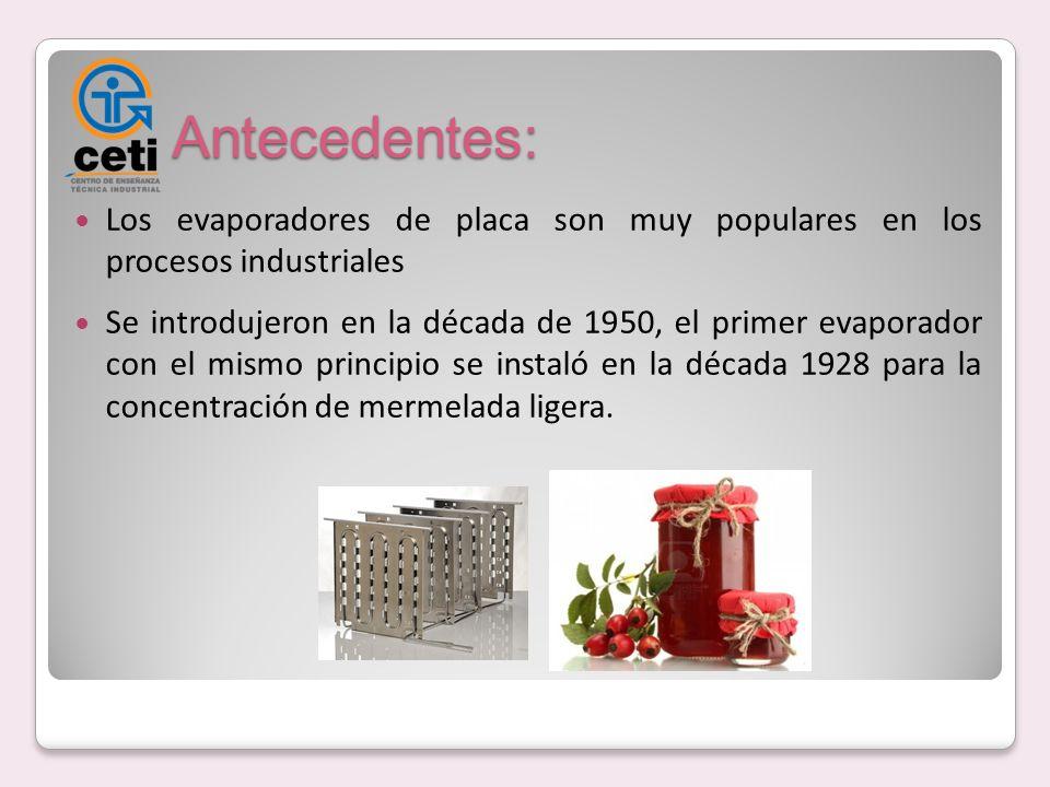 Antecedentes: Los evaporadores de placa son muy populares en los procesos industriales Se introdujeron en la década de 1950, el primer evaporador con