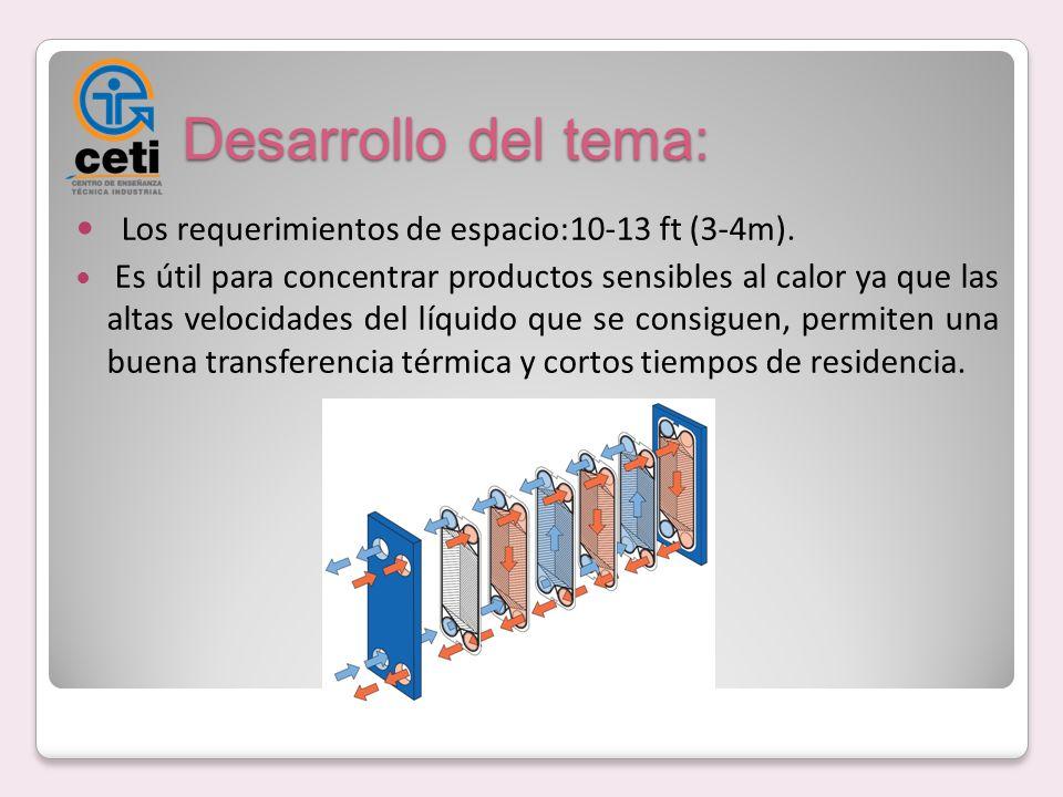 Desarrollo del tema: Los requerimientos de espacio:10-13 ft (3-4m). Es útil para concentrar productos sensibles al calor ya que las altas velocidades