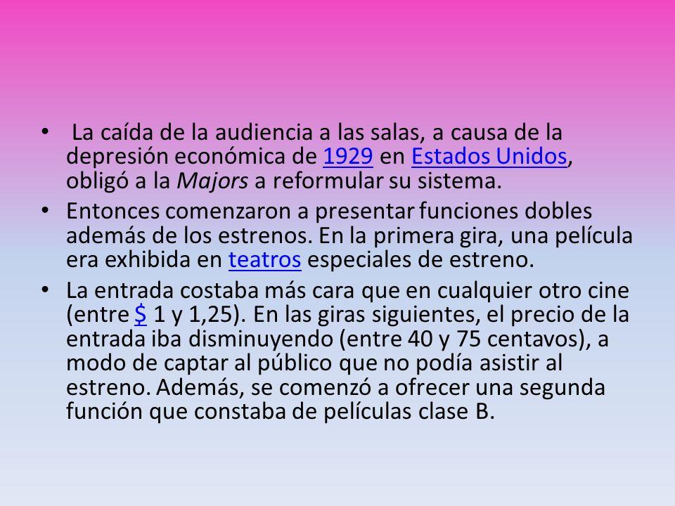 La caída de la audiencia a las salas, a causa de la depresión económica de 1929 en Estados Unidos, obligó a la Majors a reformular su sistema.1929Esta