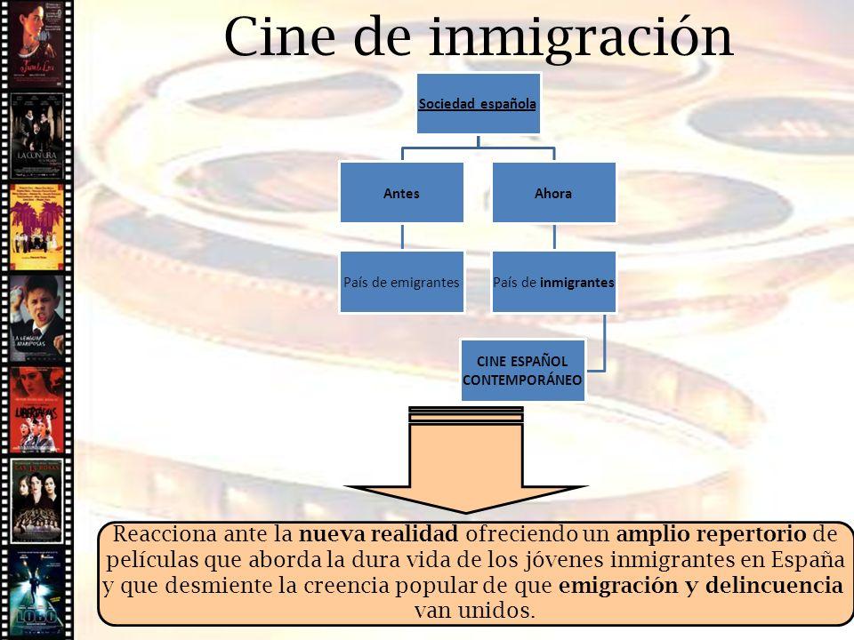 Cine de inmigración Sociedad española Antes País de emigrantes Ahora País de inmigrantes CINE ESPAÑOL CONTEMPORÁNEO Reacciona ante la nueva realidad o