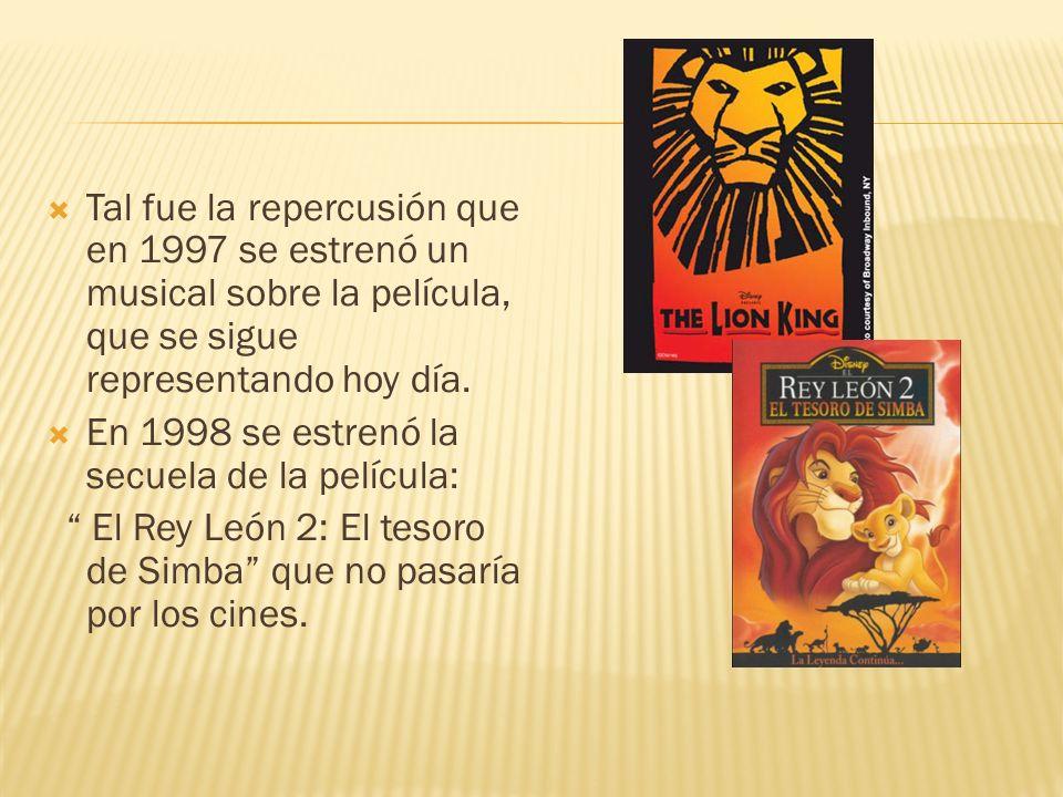Tal fue la repercusión que en 1997 se estrenó un musical sobre la película, que se sigue representando hoy día. En 1998 se estrenó la secuela de la pe