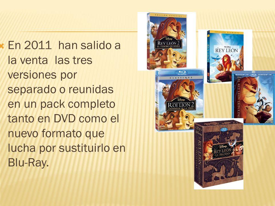 En 2011 han salido a la venta las tres versiones por separado o reunidas en un pack completo tanto en DVD como el nuevo formato que lucha por sustitui