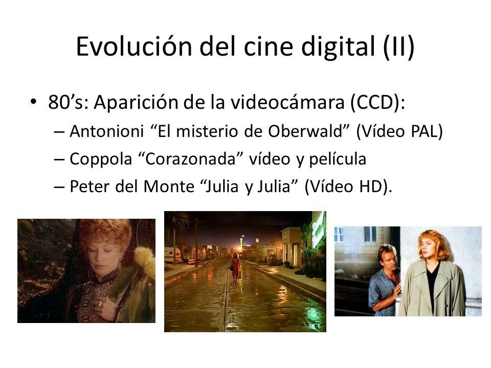 Evolución del cine digital (II) 80s: Aparición de la videocámara (CCD): – Antonioni El misterio de Oberwald (Vídeo PAL) – Coppola Corazonada vídeo y película – Peter del Monte Julia y Julia (Vídeo HD).