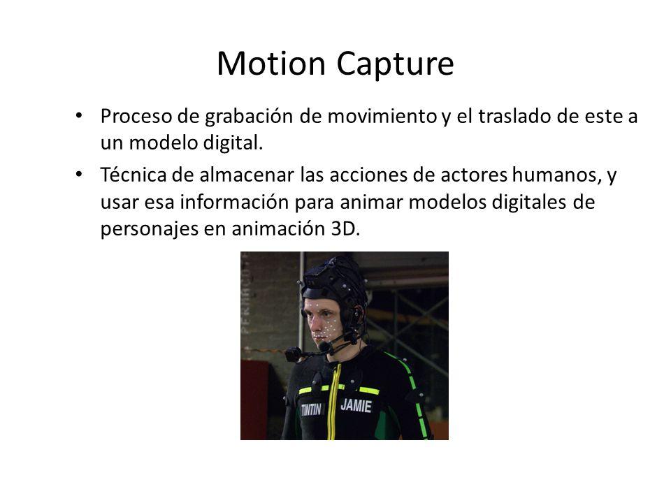 Proceso de grabación de movimiento y el traslado de este a un modelo digital.
