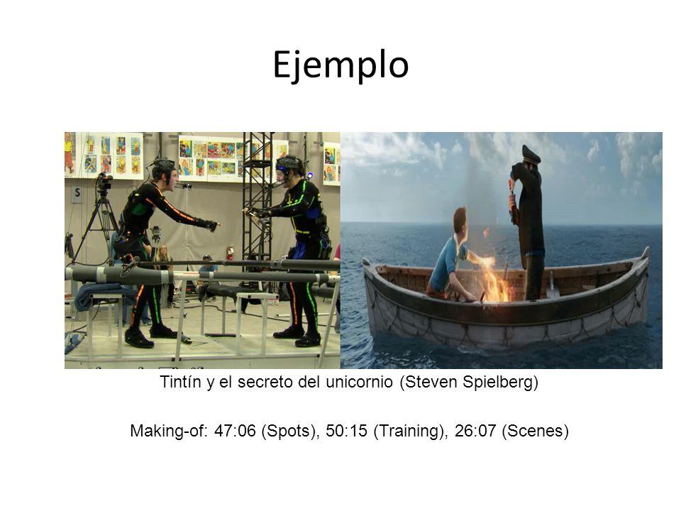 Ejemplo Tintín y el secreto del unicornio (Steven Spielberg) Making-of: 47:06 (Spots), 50:15 (Training), 26:07 (Scenes)