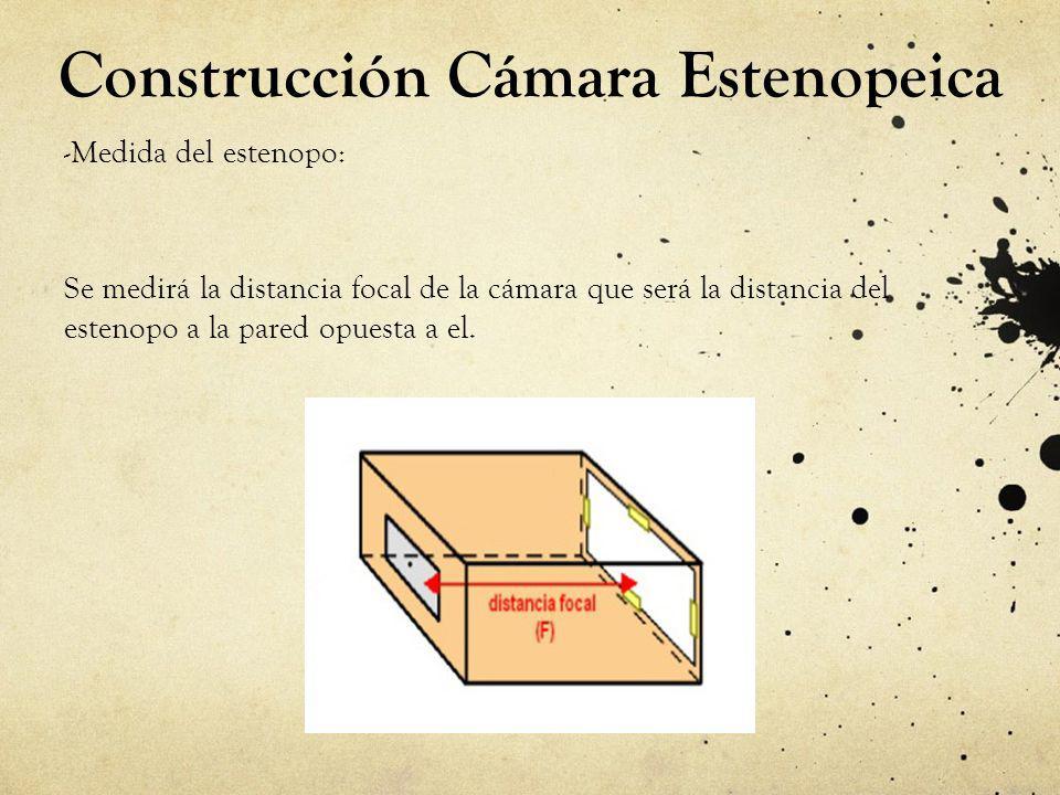Construcción Cámara Estenopeica -Medida del estenopo: Se medirá la distancia focal de la cámara que será la distancia del estenopo a la pared opuesta