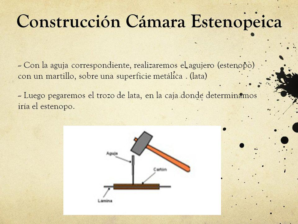 Construcción Cámara Estenopeica - - Con la aguja correspondiente, realizaremos el agujero (estenopo) con un martillo, sobre una superficie metálica. (