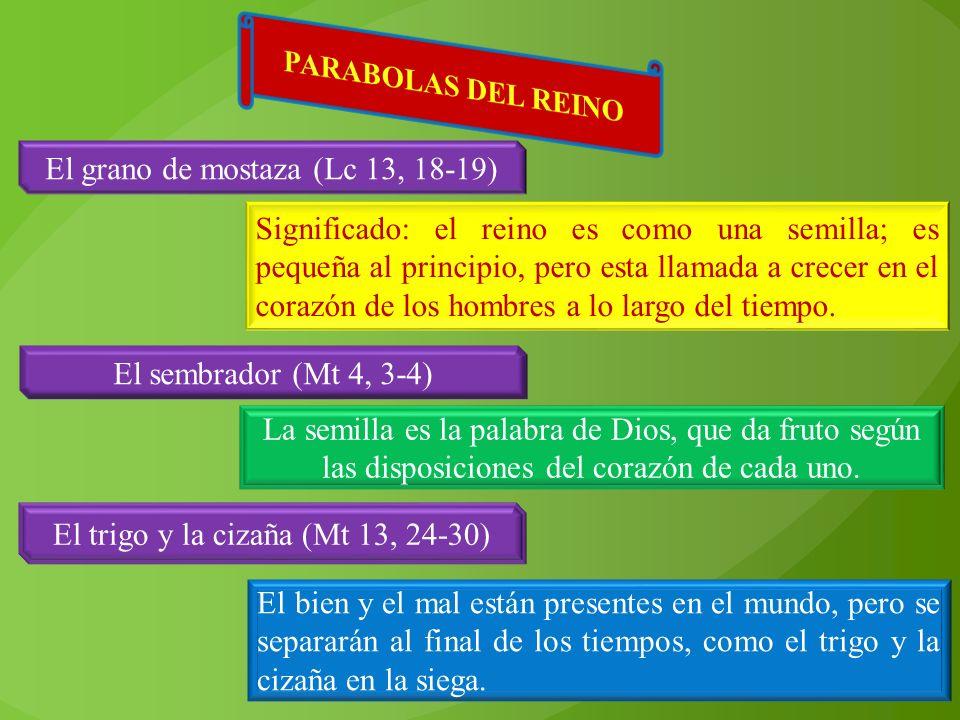El grano de mostaza (Lc 13, 18-19) Significado: el reino es como una semilla; es pequeña al principio, pero esta llamada a crecer en el corazón de los