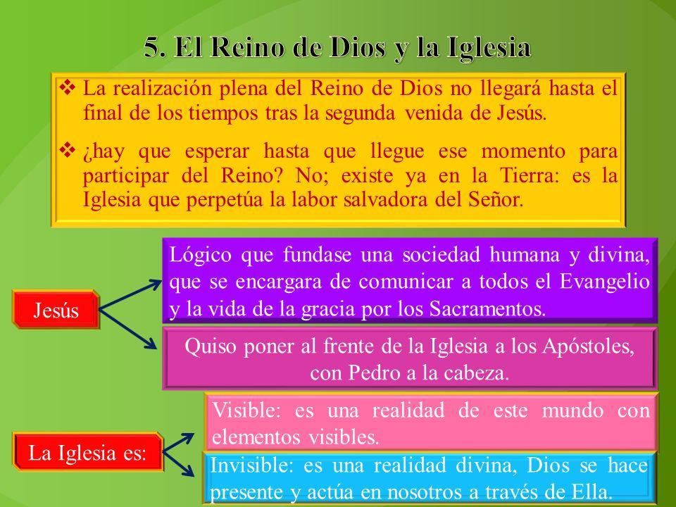 La realización plena del Reino de Dios no llegará hasta el final de los tiempos tras la segunda venida de Jesús. ¿hay que esperar hasta que llegue ese