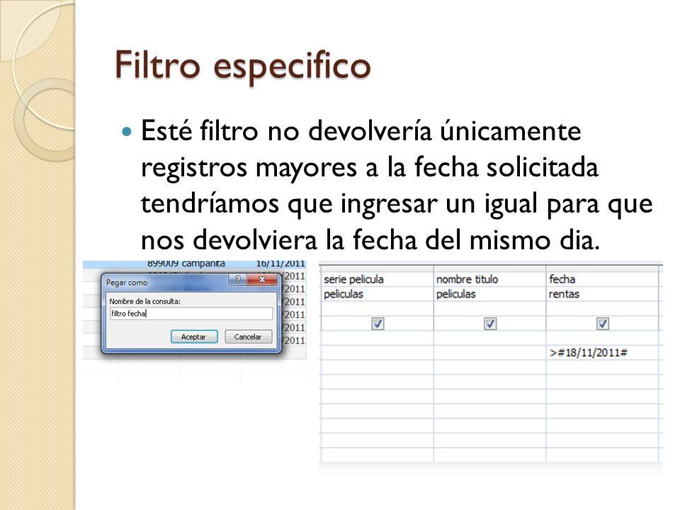 Filtro especifico Esté filtro no devolvería únicamente registros mayores a la fecha solicitada tendríamos que ingresar un igual para que nos devolviera la fecha del mismo dia.