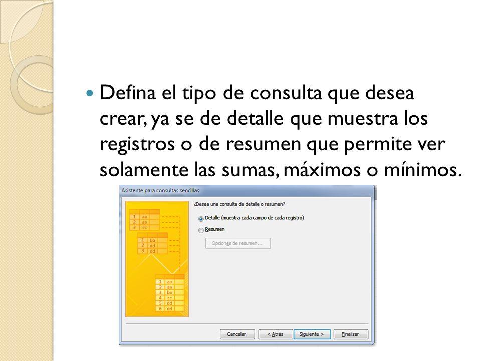 Defina el tipo de consulta que desea crear, ya se de detalle que muestra los registros o de resumen que permite ver solamente las sumas, máximos o mínimos.