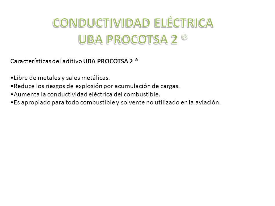 Características del aditivo UBA PROCOTSA 2 ® Libre de metales y sales metálicas.