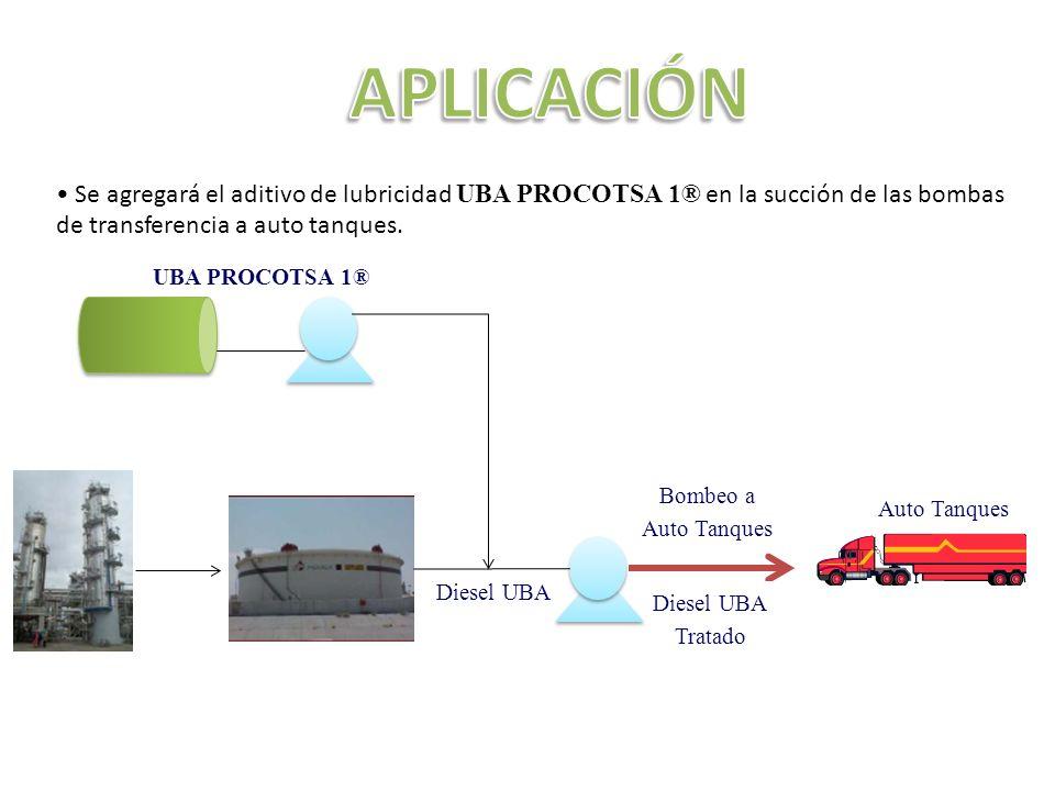 Se agregará el aditivo de lubricidad UBA PROCOTSA 1® en la succión de las bombas de transferencia a auto tanques.