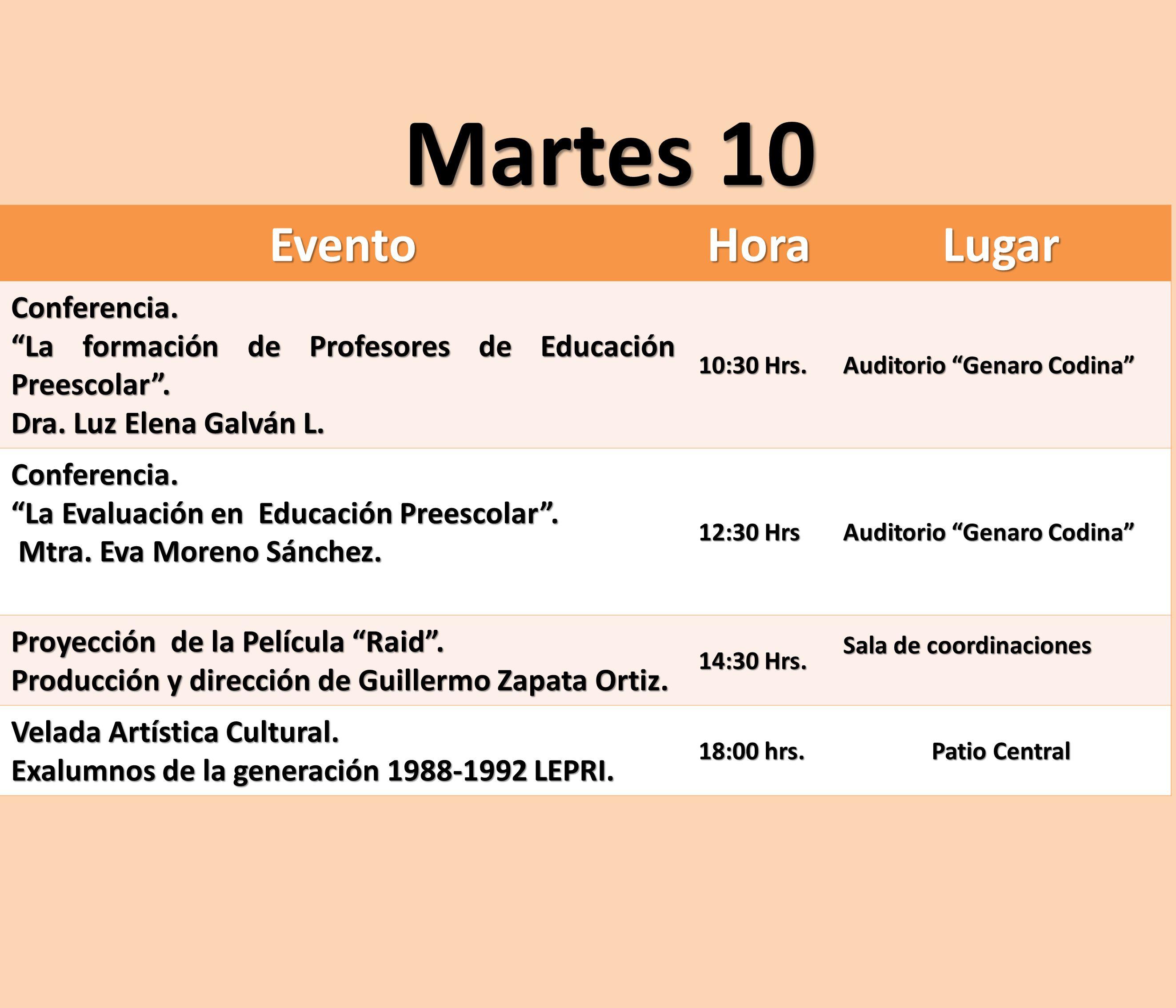 EventoHoraLugar Conferencia. La formación de Profesores de Educación Preescolar. Dra. Luz Elena Galván L. 10:30 Hrs. Auditorio Genaro Codina Conferenc