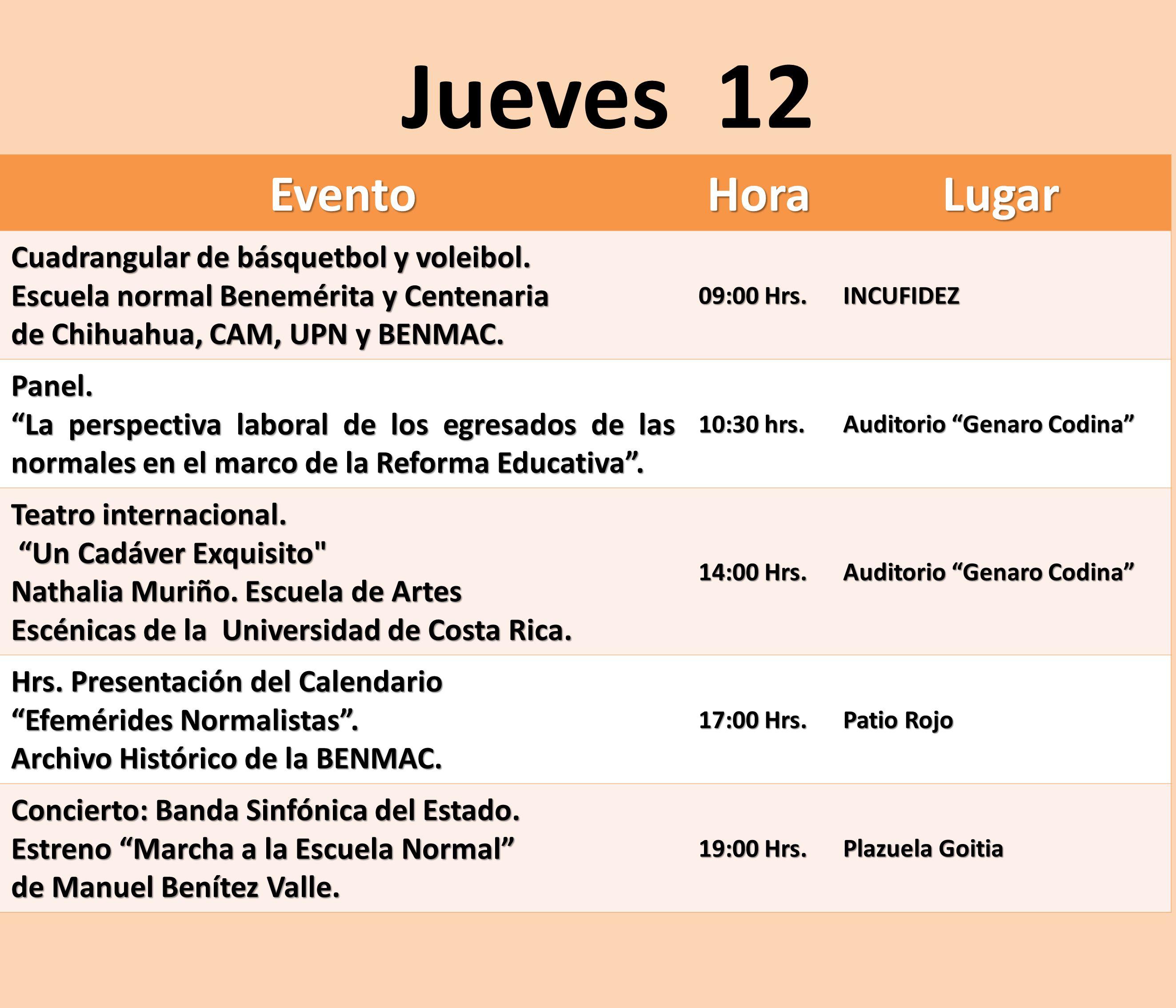 EventoHoraLugar Cuadrangular de básquetbol y voleibol. Escuela normal Benemérita y Centenaria de Chihuahua, CAM, UPN y BENMAC. 09:00 Hrs. INCUFIDEZ Pa