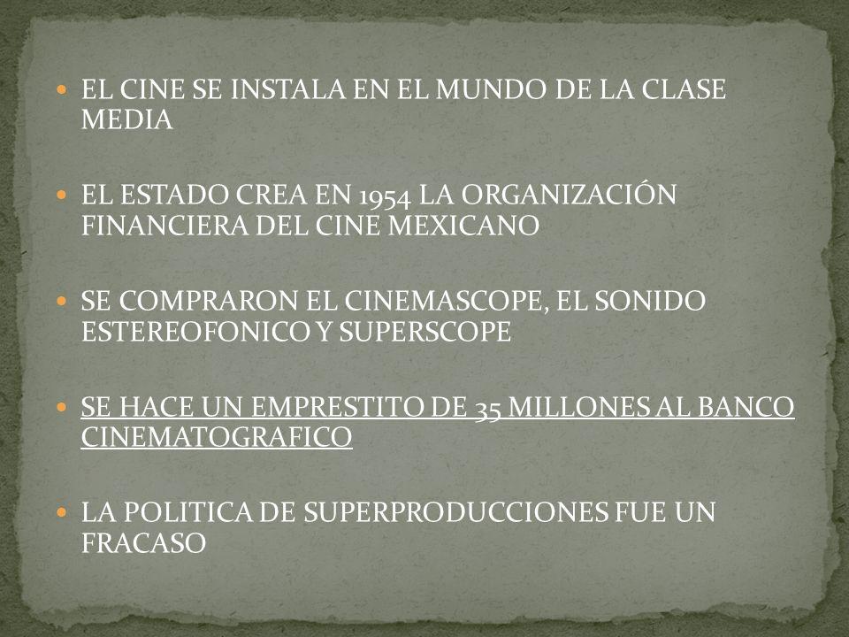 EL CINE SE INSTALA EN EL MUNDO DE LA CLASE MEDIA EL ESTADO CREA EN 1954 LA ORGANIZACIÓN FINANCIERA DEL CINE MEXICANO SE COMPRARON EL CINEMASCOPE, EL SONIDO ESTEREOFONICO Y SUPERSCOPE SE HACE UN EMPRESTITO DE 35 MILLONES AL BANCO CINEMATOGRAFICO LA POLITICA DE SUPERPRODUCCIONES FUE UN FRACASO