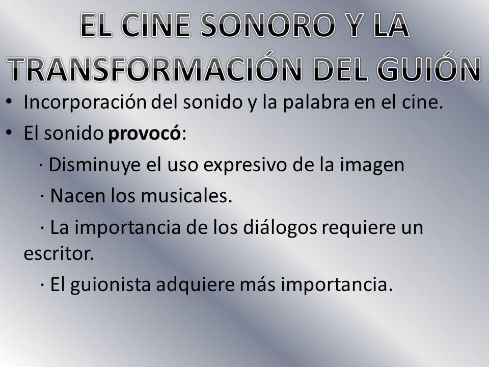 Incorporación del sonido y la palabra en el cine.