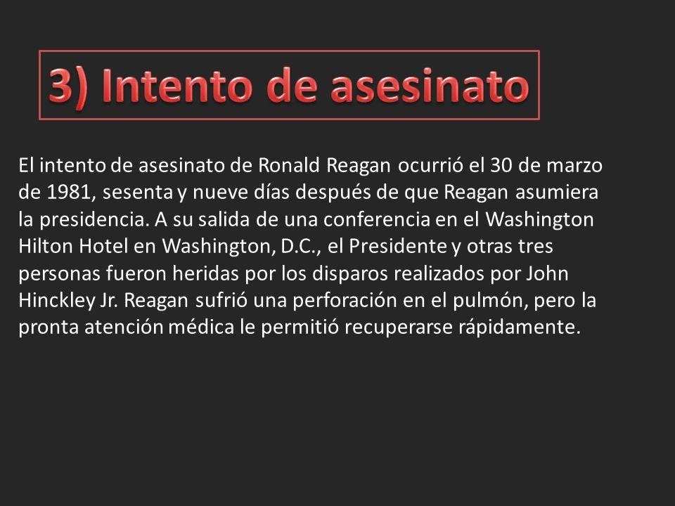 El intento de asesinato de Ronald Reagan ocurrió el 30 de marzo de 1981, sesenta y nueve días después de que Reagan asumiera la presidencia.