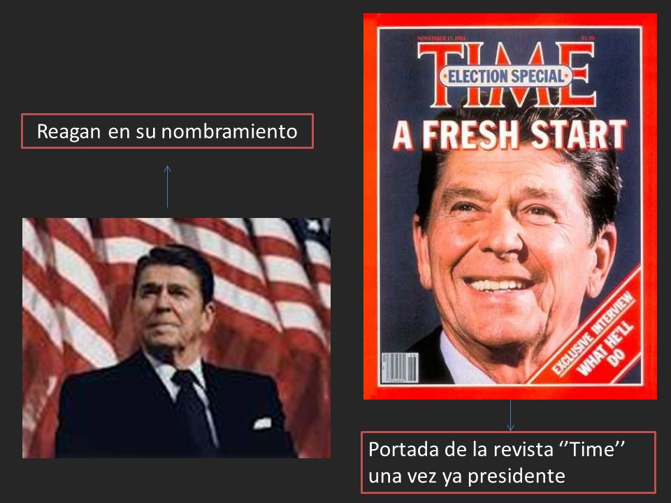 Reagan en su nombramiento Portada de la revista Time una vez ya presidente