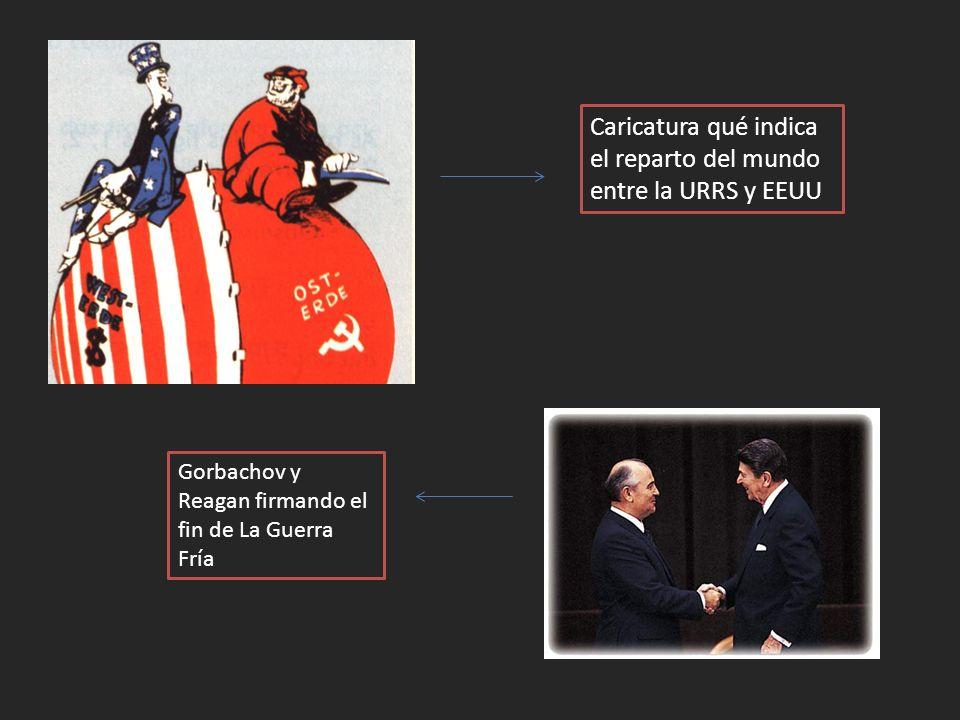 Caricatura qué indica el reparto del mundo entre la URRS y EEUU Gorbachov y Reagan firmando el fin de La Guerra Fría