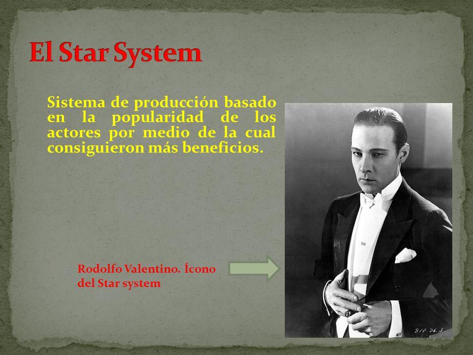 Sistema de producción basado en la popularidad de los actores por medio de la cual consiguieron más beneficios. Rodolfo Valentino. Ícono del Star syst