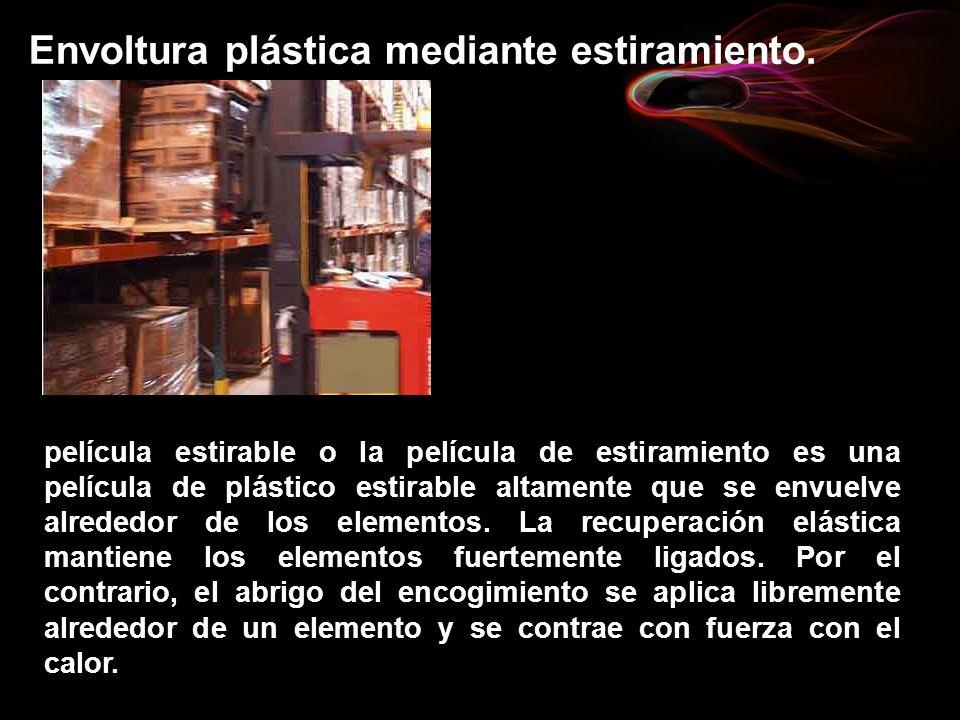 Envoltura plástica mediante estiramiento. película estirable o la película de estiramiento es una película de plástico estirable altamente que se envu