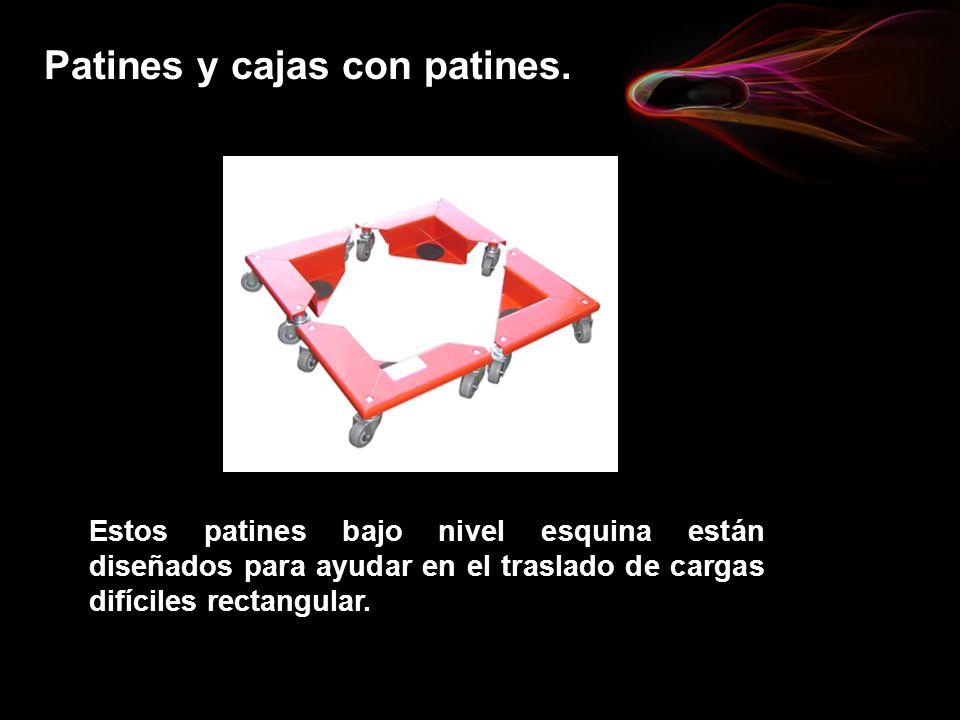 Patines y cajas con patines. Estos patines bajo nivel esquina están diseñados para ayudar en el traslado de cargas difíciles rectangular.