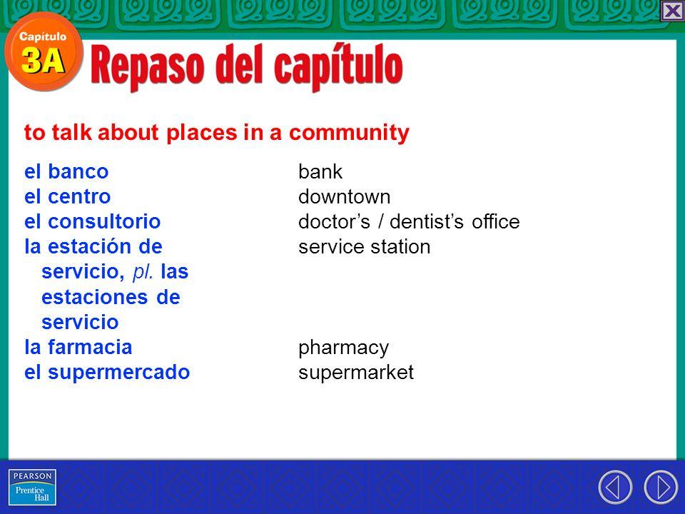 el banco el centro el consultorio la estación de servicio, pl. las estaciones de servicio la farmacia el supermercado to talk about places in a commun