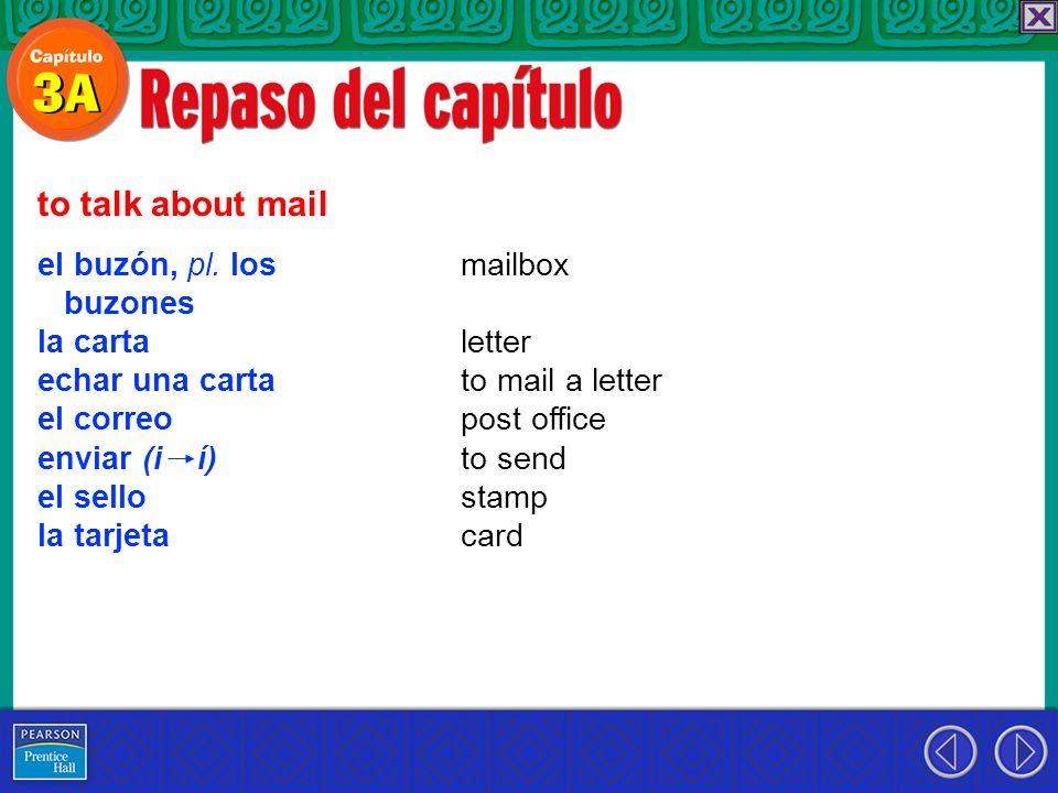 el buzón, pl. los buzones la carta echar una carta el correo enviar (i í) el sello la tarjeta to talk about mail mailbox letter to mail a letter post