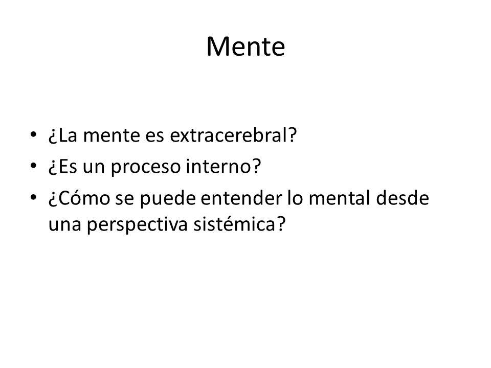 Mente ¿La mente es extracerebral? ¿Es un proceso interno? ¿Cómo se puede entender lo mental desde una perspectiva sistémica?