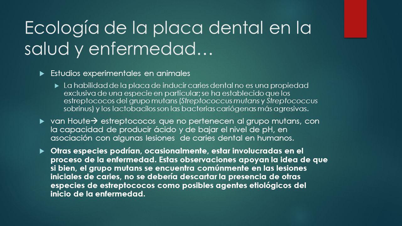 Ecología de la placa dental en la salud y enfermedad… Estudios experimentales en animales La habilidad de la placa de inducir caries dental no es una