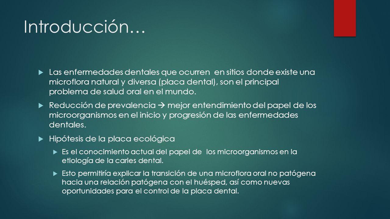 Introducción… Las enfermedades dentales que ocurren en sitios donde existe una microflora natural y diversa (placa dental), son el principal problema de salud oral en el mundo.