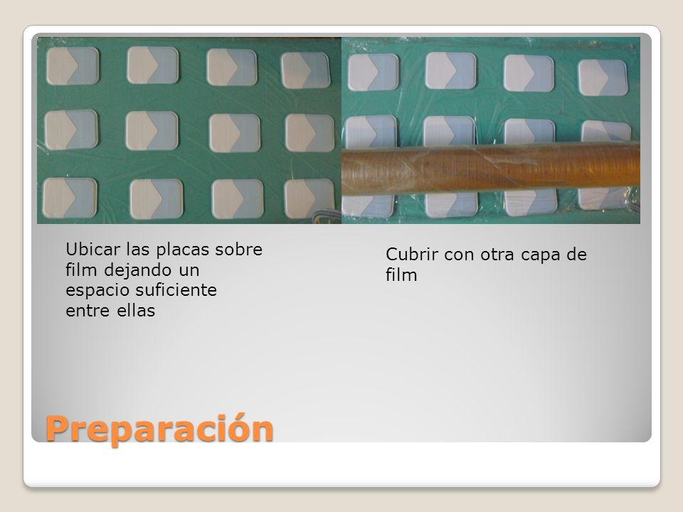 Preparación Ubicar las placas sobre film dejando un espacio suficiente entre ellas Cubrir con otra capa de film