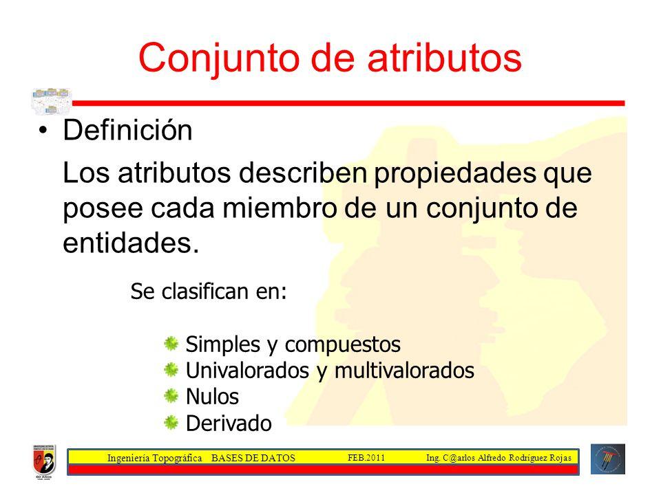 Ingeniería Topográfica BASES DE DATOS Ing. C@arlos Alfredo Rodríguez RojasFEB.2011 Conjunto de atributos Definición Los atributos describen propiedade
