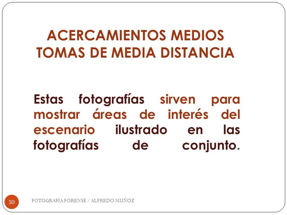 10 ACERCAMIENTOS MEDIOS TOMAS DE MEDIA DISTANCIA Estas fotografías sirven para mostrar áreas de interés del escenario ilustrado en las fotografías de