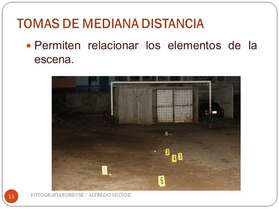 TOMAS DE MEDIANA DISTANCIA 11 Permiten relacionar los elementos de la escena. FOTOGRAFIA FORENSE / ALFREDO MUÑOZ