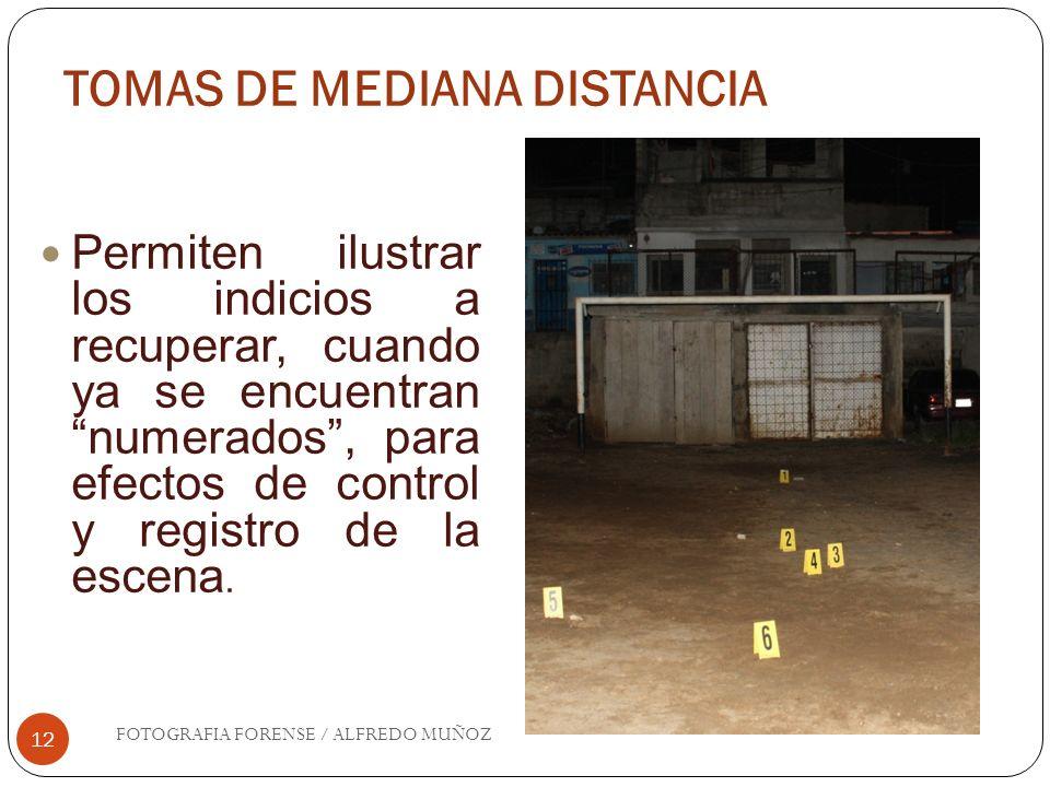 TOMAS DE MEDIANA DISTANCIA 12 Permiten ilustrar los indicios a recuperar, cuando ya se encuentran numerados, para efectos de control y registro de la