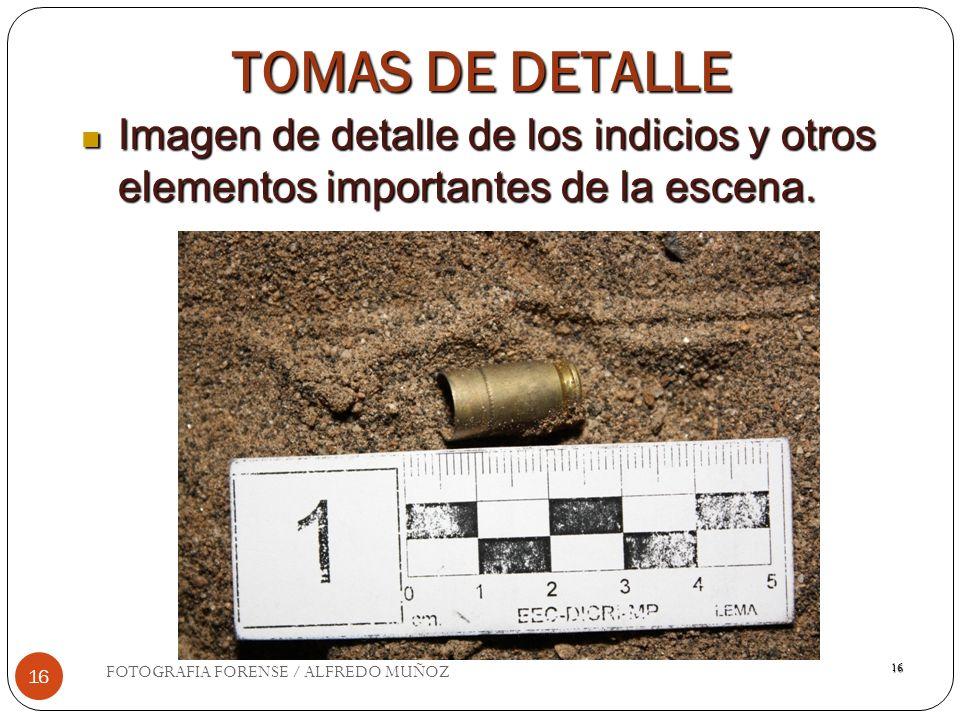 16 TOMAS DE DETALLE Imagen de detalle de los indicios y otros elementos importantes de la escena. Imagen de detalle de los indicios y otros elementos