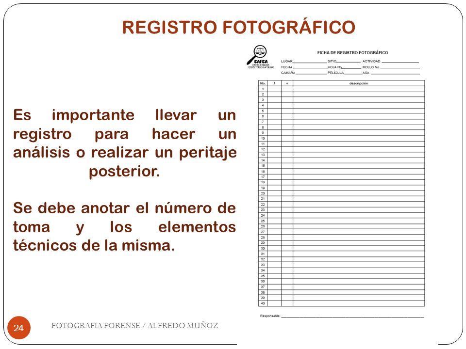 24 Es importante llevar un registro para hacer un análisis o realizar un peritaje posterior. Se debe anotar el número de toma y los elementos técnicos