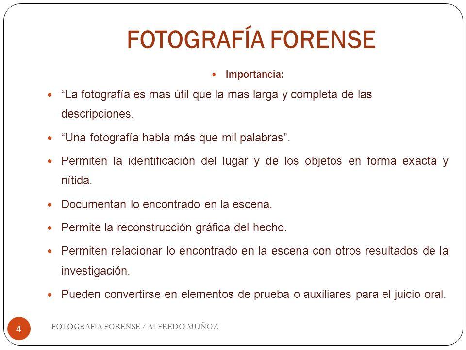 FOTOGRAFÍA FORENSE 4 Importancia: La fotografía es mas útil que la mas larga y completa de las descripciones. Una fotografía habla más que mil palabra