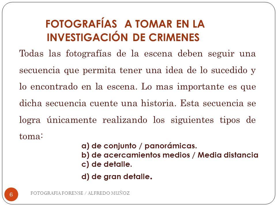 7 FOTOGRAFÍAS DE CONJUNTO TOMAS PANORÁMICAS Son fotografías que muestran vistas generales del escenario; estas deben tomarse de todos los ángulos posibles.