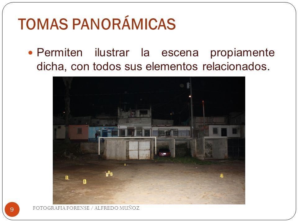 TOMAS PANORÁMICAS 9 Permiten ilustrar la escena propiamente dicha, con todos sus elementos relacionados. FOTOGRAFIA FORENSE / ALFREDO MUÑOZ