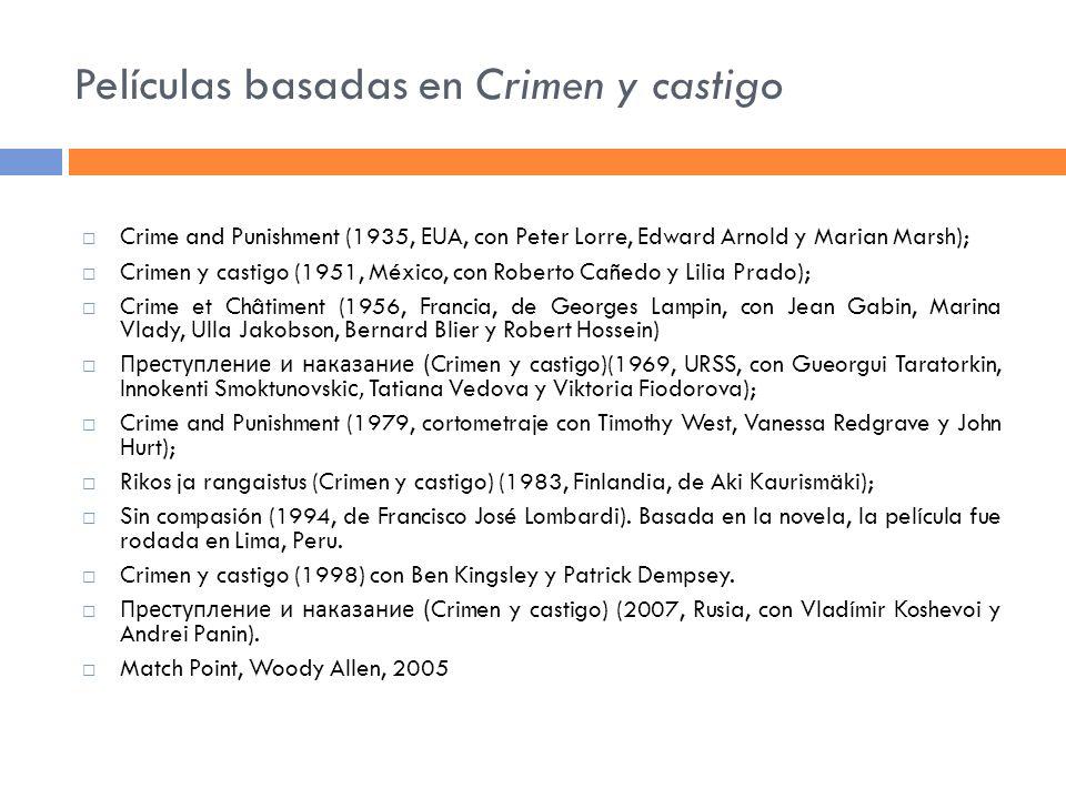 Películas basadas en Crimen y castigo Crime and Punishment (1935, EUA, con Peter Lorre, Edward Arnold y Marian Marsh); Crimen y castigo (1951, México,