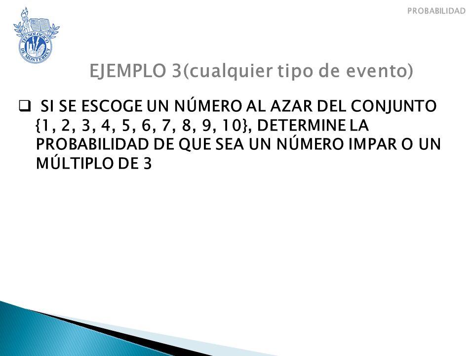 EJEMPLO 3(cualquier tipo de evento) SI SE ESCOGE UN NÚMERO AL AZAR DEL CONJUNTO {1, 2, 3, 4, 5, 6, 7, 8, 9, 10}, DETERMINE LA PROBABILIDAD DE QUE SEA UN NÚMERO IMPAR O UN MÚLTIPLO DE 3