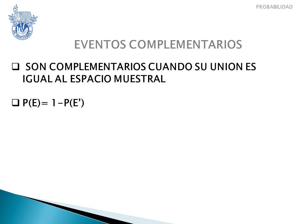 EVENTOS COMPLEMENTARIOS SON COMPLEMENTARIOS CUANDO SU UNION ES IGUAL AL ESPACIO MUESTRAL P(E)= 1-P(E)