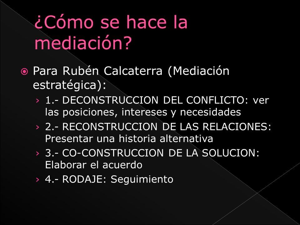 Para Rubén Calcaterra (Mediación estratégica): 1.- DECONSTRUCCION DEL CONFLICTO: ver las posiciones, intereses y necesidades 2.- RECONSTRUCCION DE LAS